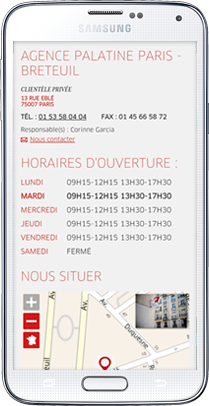 Store Locator Mobile Banque Palatine