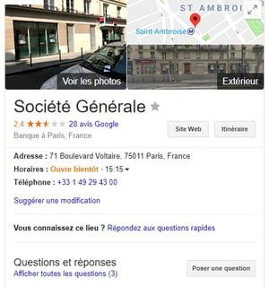 Google My Business Société Générale