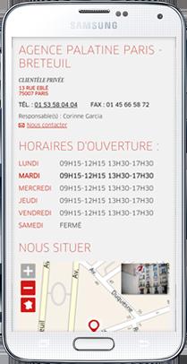 Store Locator Mobile Banque Palatine
