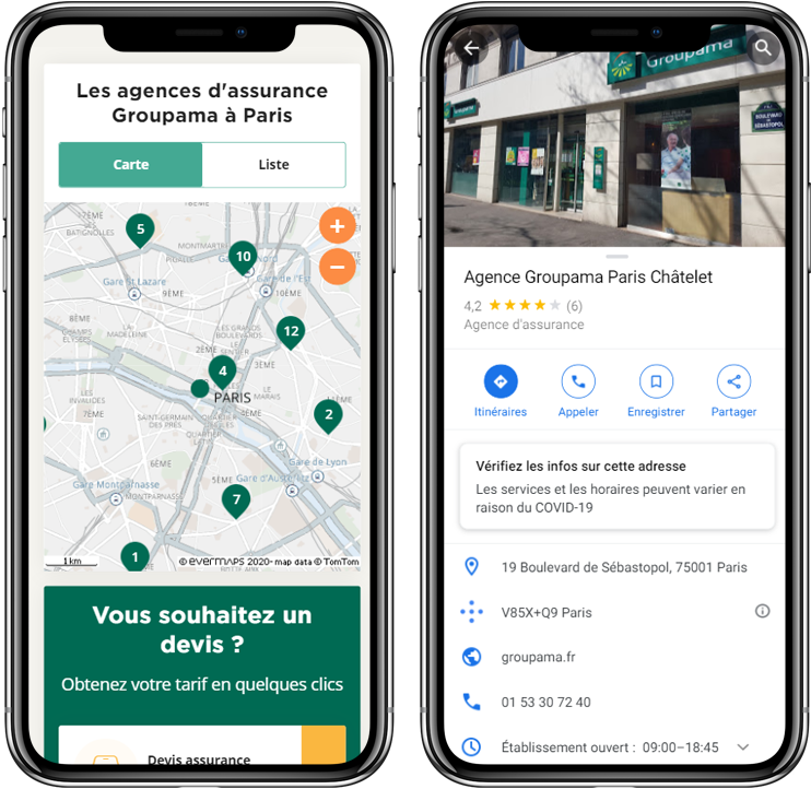 Store Locator et fiche Google my Business Groupama