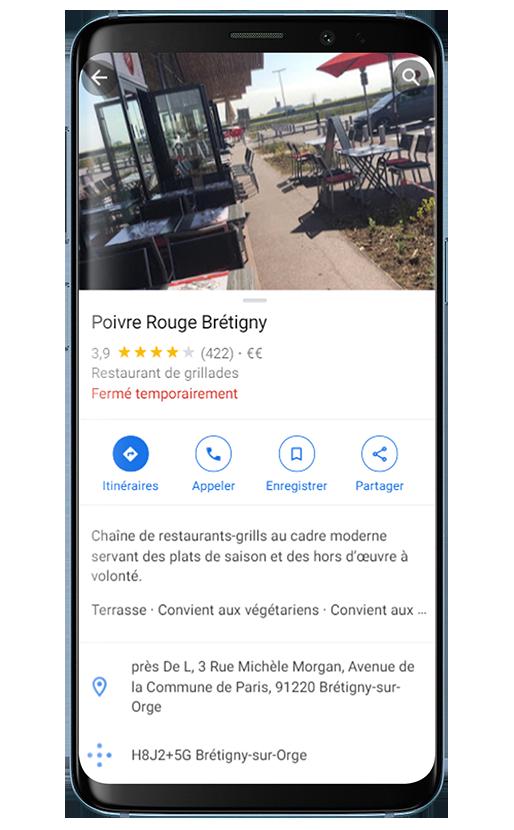 Fiche Google my Business Poivre Rouge