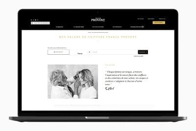 Le Store Locator du site de Franck Provost