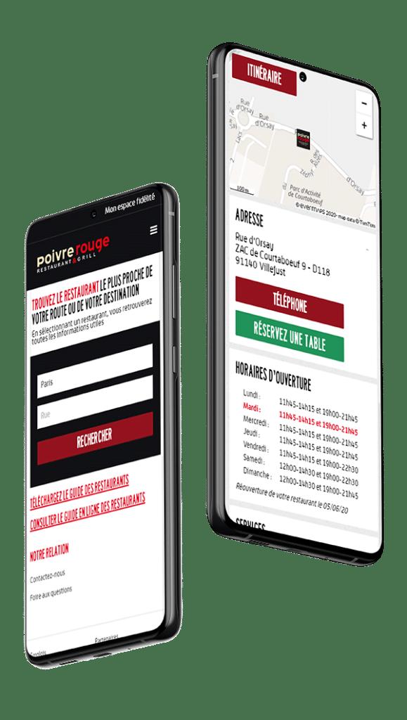 Store Locator mobile Poivre Rouge