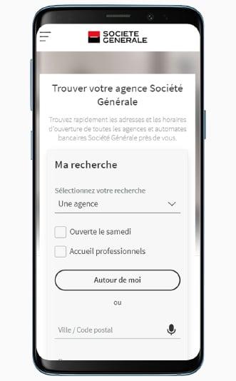Le Store Locator de la Société Générale sur mobile, avec la page de recherche