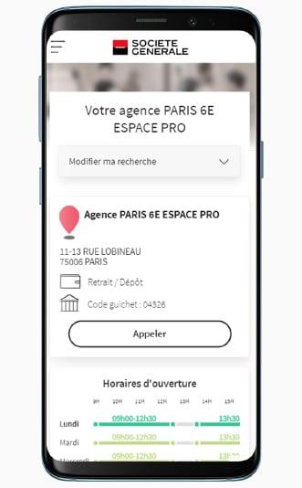 Le Store Locator de la Société Générale sur mobile, avec la page dédiée à l'agence