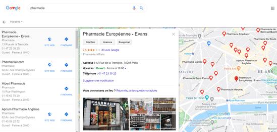 Les fiches Google My Business sont affichées sur la carte Google Maps.