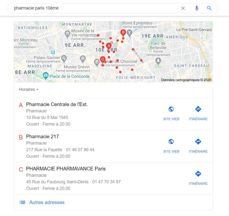 Le pack local de Google affiche les meilleurs résultats locaux pour une recherche donnée.