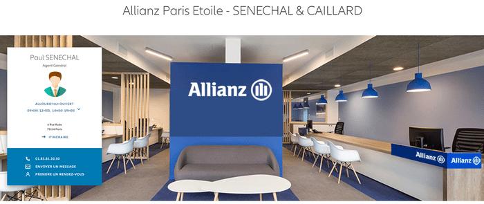 La store locator Allianz affiche des informations personnalisées pour les pages locales