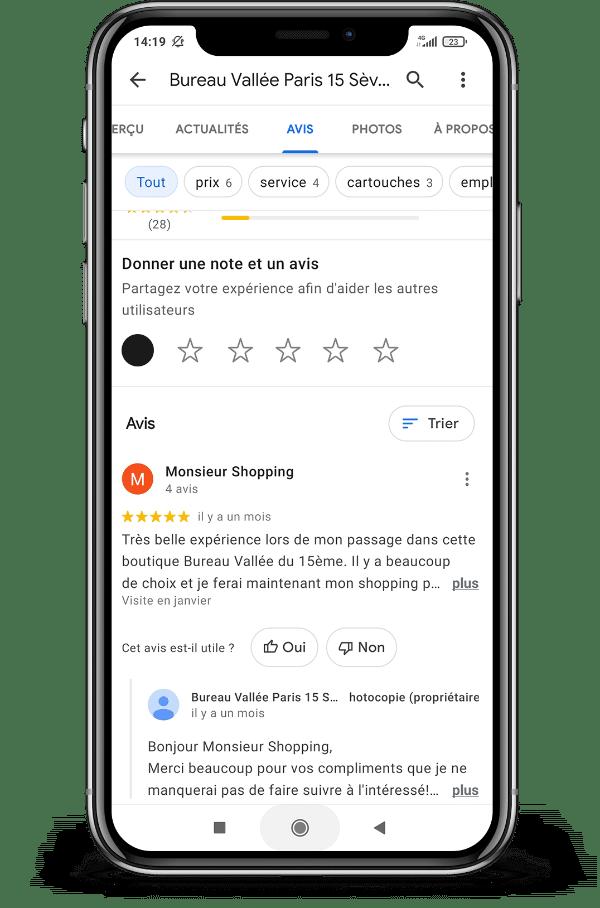 Une réponse de Bureau Vallée à un avis client sur une fiche Google My Business