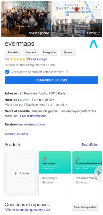 La fiche Google My Business evermaps