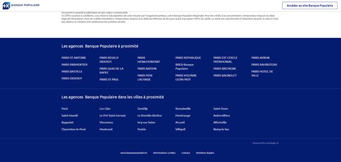 Le maillage interne d'une page locale du Store Locator Banque Populaire