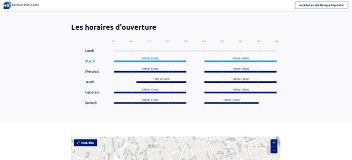 Les horaires d'ouverture d'une agence Banque Populaire sur sa page locale