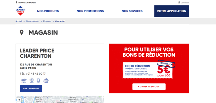 Une campagne promotionnelle d'une page locale Leader Price
