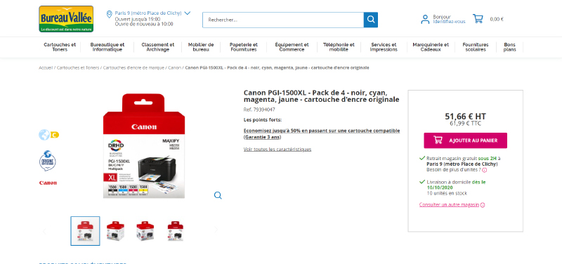 Bureau intègre un Store Select et un Product Locator sur ses pages produits