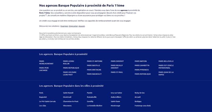 Le maillage SEO d'une page local du Store Locator de Banque Populaire