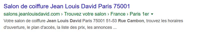 L'affichage dans la SERP Google d'une page locale de Franck Provost