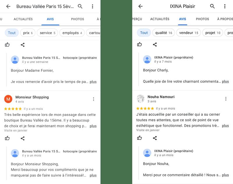 Bureau Vallée et Ixina répondent régulièrement aux avis clients Google My Business