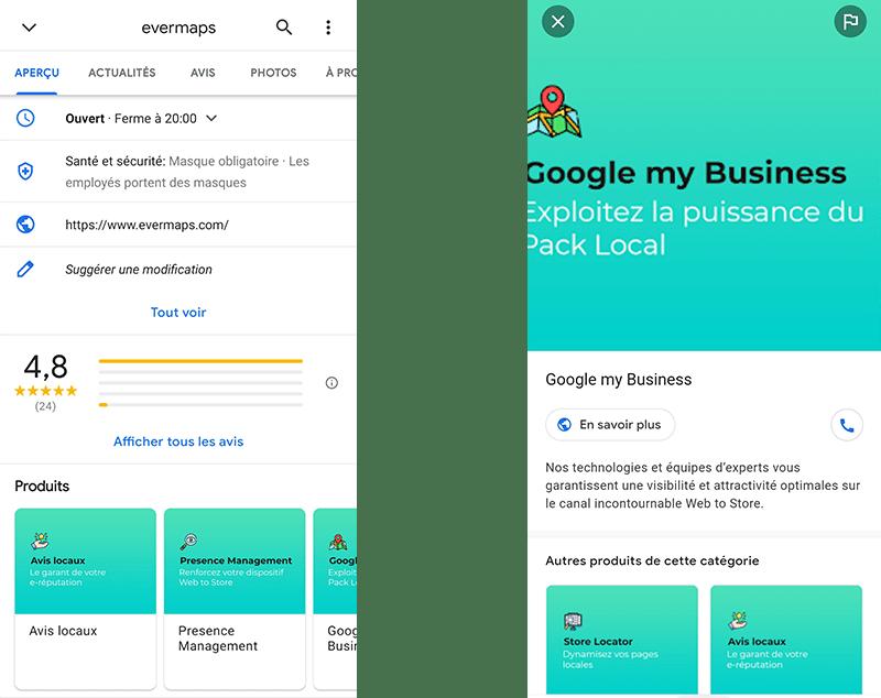 La catalogue Produits sur la fiche Google My Business evermaps