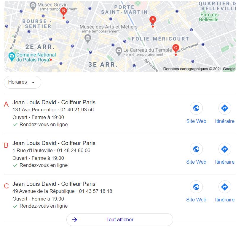 Jean Louis David a un module de prise de rendez-vous sur les fiches Google my Business