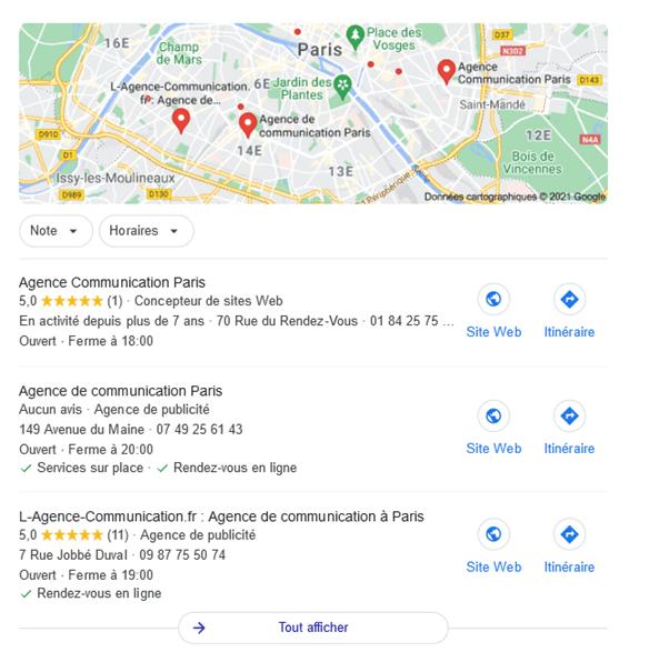 Le pack local de google lors d'une recherche sur les agences de communication à Paris