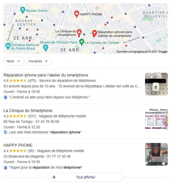 Le Pack Local de Google affiche différentes justifications Google My Business