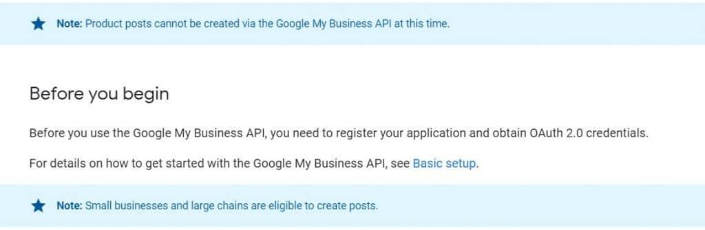 La documentation google my business, mise à jour après l'annonce de l'autorisation de publication de google posts par API